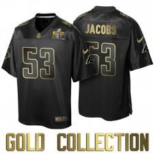 Carolina Panthers #53 Ben Jacobs Super Bowl 50th Black Gold Collection Jersey