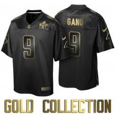 Carolina Panthers #9 Graham Gano Super Bowl 50th Black Gold Collection Jersey