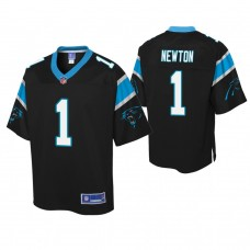Youth Carolina Panthers #1 Cam Newton Black Player Pro Line Jersey