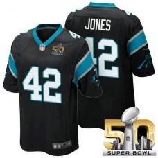 Carolina Panthers #42 Colin Jones Black 2016 Super Bowl 50 Game Jersey