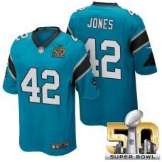 Carolina Panthers #42 Colin Jones Blue 2016 Super Bowl 50 Game Jersey