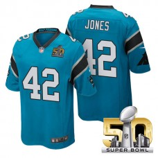 Youth Carolina Panthers #42 Colin Jones Blue 2016 Super Bowl 50 Game Jersey