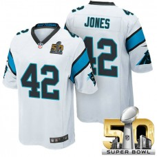 Carolina Panthers #42 Colin Jones White 2016 Super Bowl 50 Game Jersey