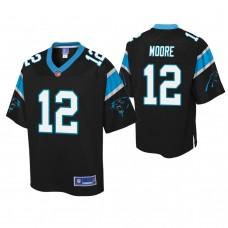Youth Carolina Panthers #12 D. J. Moore Black Player Pro Line Jersey