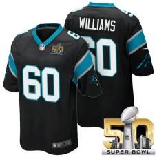 Carolina Panthers #60 Daryl Williams Black 2016 Super Bowl 50 Game Jersey
