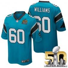 Carolina Panthers #60 Daryl Williams Blue 2016 Super Bowl 50 Game Jersey