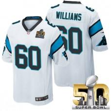 Carolina Panthers #60 Daryl Williams White 2016 Super Bowl 50 Game Jersey