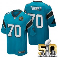 Carolina Panthers #70 Trai Turner Blue 2016 Super Bowl 50 Game Jersey