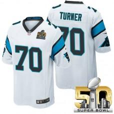 Carolina Panthers #70 Trai Turner White 2016 Super Bowl 50 Game Jersey