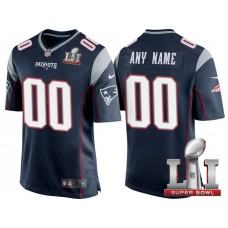 2017 Super Bowl LI New England Patriots Navy Game Customized Jersey