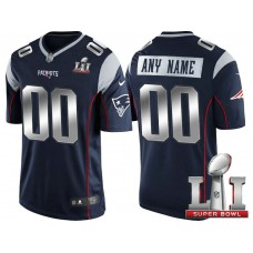 2017 Super Bowl LI Silver New England Patriots Navy Limited Customized Jersey