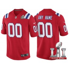 2017 Super Bowl LI New England Patriots Red Game Customized Jersey