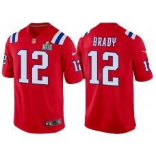 New England Patriots #12 Tom Brady Red Super Bowl LII Bound Game Jersey