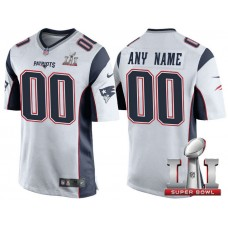 2017 Super Bowl LI New England Patriots White Game Customized Jersey