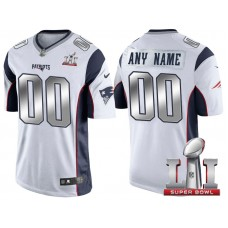 2017 Super Bowl LI Silver New England Patriots White Limited Customized Jersey