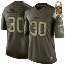 St. Louis Rams #30 Todd Gurley Green Camo Salute To Service Limited Jersey