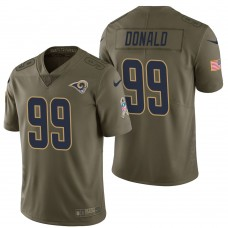 Los Angeles Rams #99 Aaron Donald Olive 2017 Salute to Service Limited Jersey