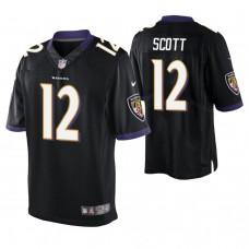 Baltimore Ravens #12 Jaleel Scott Black Elite Jersey