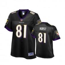 Women's Baltimore Ravens 2018 Draft #81 Hayden Hurst Black Alternate Player Pro Line Jersey