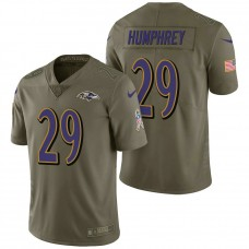 Baltimore Ravens #29 Marlon Humphrey Olive 2017 Salute to Service Limited Jersey
