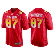 2018 Pro Bowl AFC New England Patriots #87 Rob Gronkowski Red Game Jersey