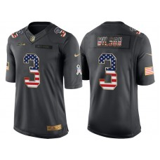 Seattle Seahawks #3 Russell Wilson Anthracite Salute to Service USA Flag Fashion Jersey