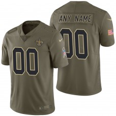 New Orleans Saints Olive 2017 Salute to Service Limited Customized Jersey