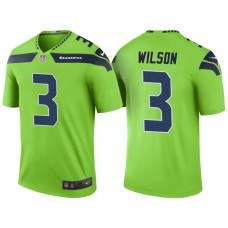 Seattle Seahawks #3 Russell Wilson Green Color Rush Legend Jersey