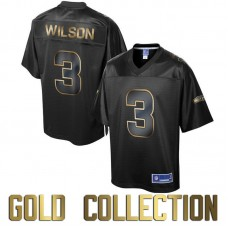 Seattle Seahawks #3 Russell Wilson Super Bowl 50 Black Gold Collection Jersey