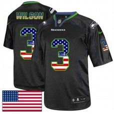 Seattle Seahawks #3 Russell Wilson Black USA Flag Fashion Jersey