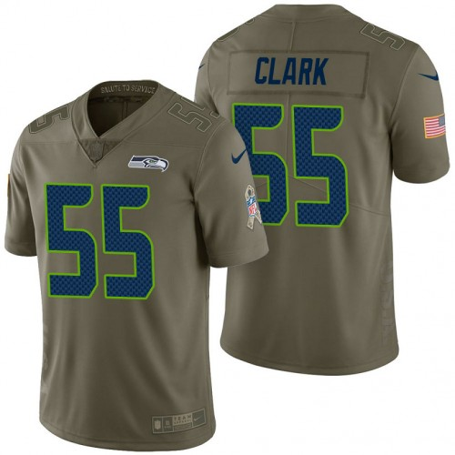 Seattle Seahawks #55 Frank Clark Olive 2017 Salute to Service Limited Jersey