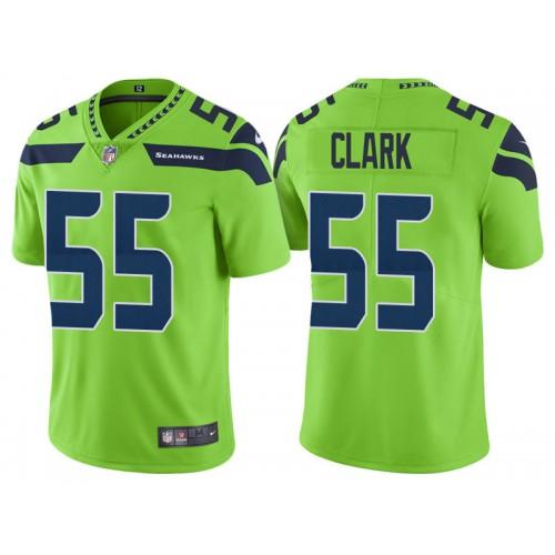 Seattle Seahawks #55 Frank Clark Neon Green Vapor Untouchable Color Rush Limited Jersey