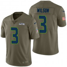 Seattle Seahawks #3 Russell Wilson Olive 2017 Salute to Service Limited Jersey