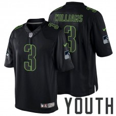 Youth Seattle Seahawks #3 Russell Wilson Black Impact Limited Jersey