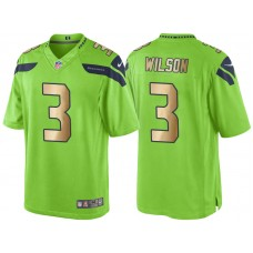 Seattle Seahawks #3 Russell Wilson Green Gold Special Color Rush Jersey