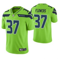 Seattle Seahawks #37 Tre Flowers Neon Green Vapor Untouchable Color Rush Limited Jersey