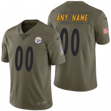 Pittsburgh Steelers Olive 2017 Salute to Service Limited Customized Jersey