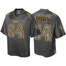 Pittsburgh Steelers #84 Antonio Brown Gray Pro Line Fashion Static Jersey