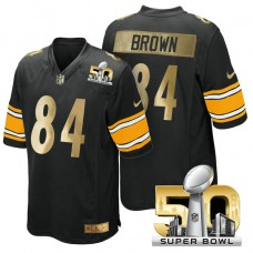 Pittsburgh Steelers #84 Antonio Brown Black Super Bowl 50 Limited Jersey (Pre-Order)