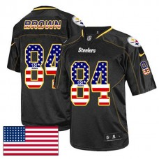 Pittsburgh Steelers #84 Antonio Brown Black USA Flag Fashion Jersey