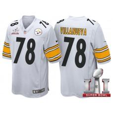 Pittsburgh Steelers #78 Alejandro Villanueva White 2017 Super Bowl LI Patch Game Jersey