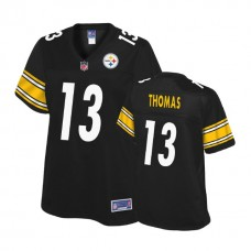 Women's Pittsburgh Steelers #13 Justin Thomas Balck Player Pro Line Jersey