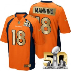 Denver Broncos #18 Peyton Manning Orange Super Bowl 50 Special Edition Jersey