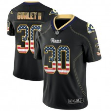Los Angeles Rams #30 Todd Gurley II Black 2018 USA Flag Fashion Color Rush Limited Jersey