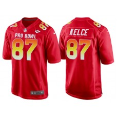 2018 Pro Bowl AFC Kansas City Chiefs #87 Travis Kelce Red Game Jersey