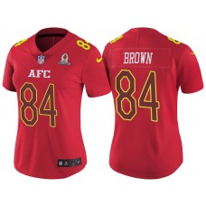 Women's AFC 2017 Pro Bowl Pittsburgh Steelers #84 Antonio Brown Red Game Jersey