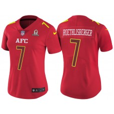 Women's AFC 2017 Pro Bowl Pittsburgh Steelers #7 Ben Roethlisberger Red Game Jersey