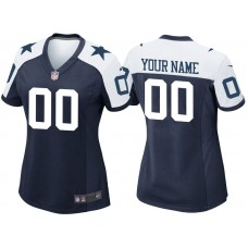Women's Dallas Cowboys Navy Throwback Game Customized Jersey