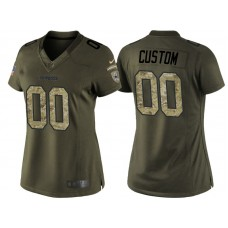 Women's Dallas Cowboys Olive Camo Salute to Service Customized Jersey