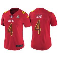 Women's AFC 2017 Pro Bowl Oakland Raiders #4 Derek Carr Red Game Jersey